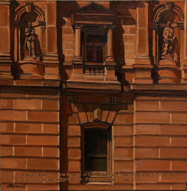 plein air oil painting of Lands Department building in Bridge st Sydney by heritage artist Jane Bennett