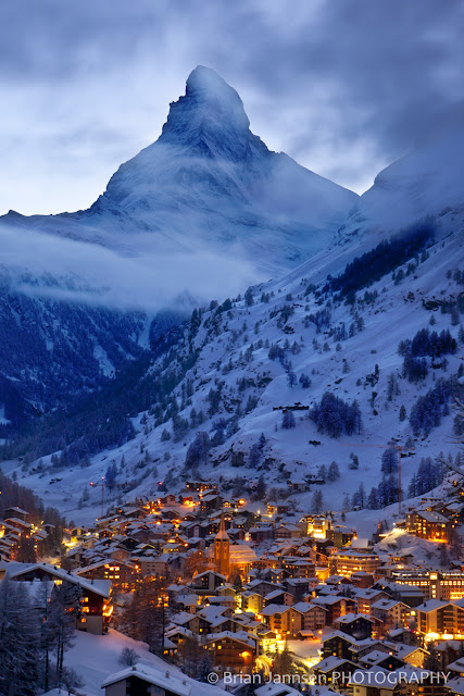 Enchanted Zermatt in Switzerland is aglow beneath the towering Matterhorn and Swiss Alps.  Please note all written content is the property of EuroTravelogue™. Photography is copyrighted by Brian Jannsen Photography. Unauthorized use is prohibited.