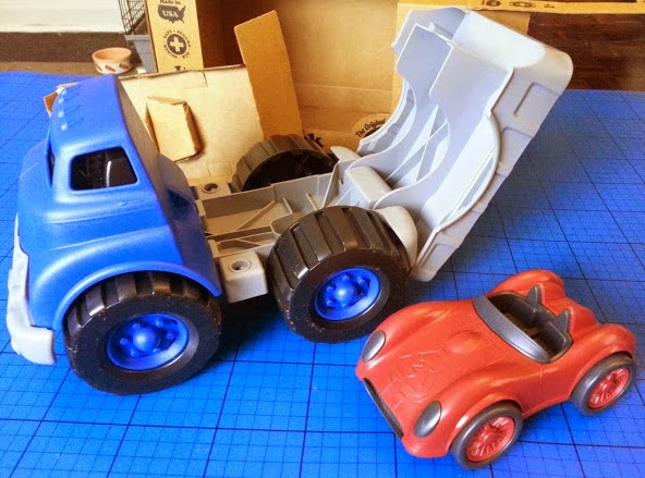 Green Toys Recycled Plastic Flatbed Truck with Race Car unpackaged