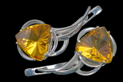 Trillion Cut Citrine Silver earrings
