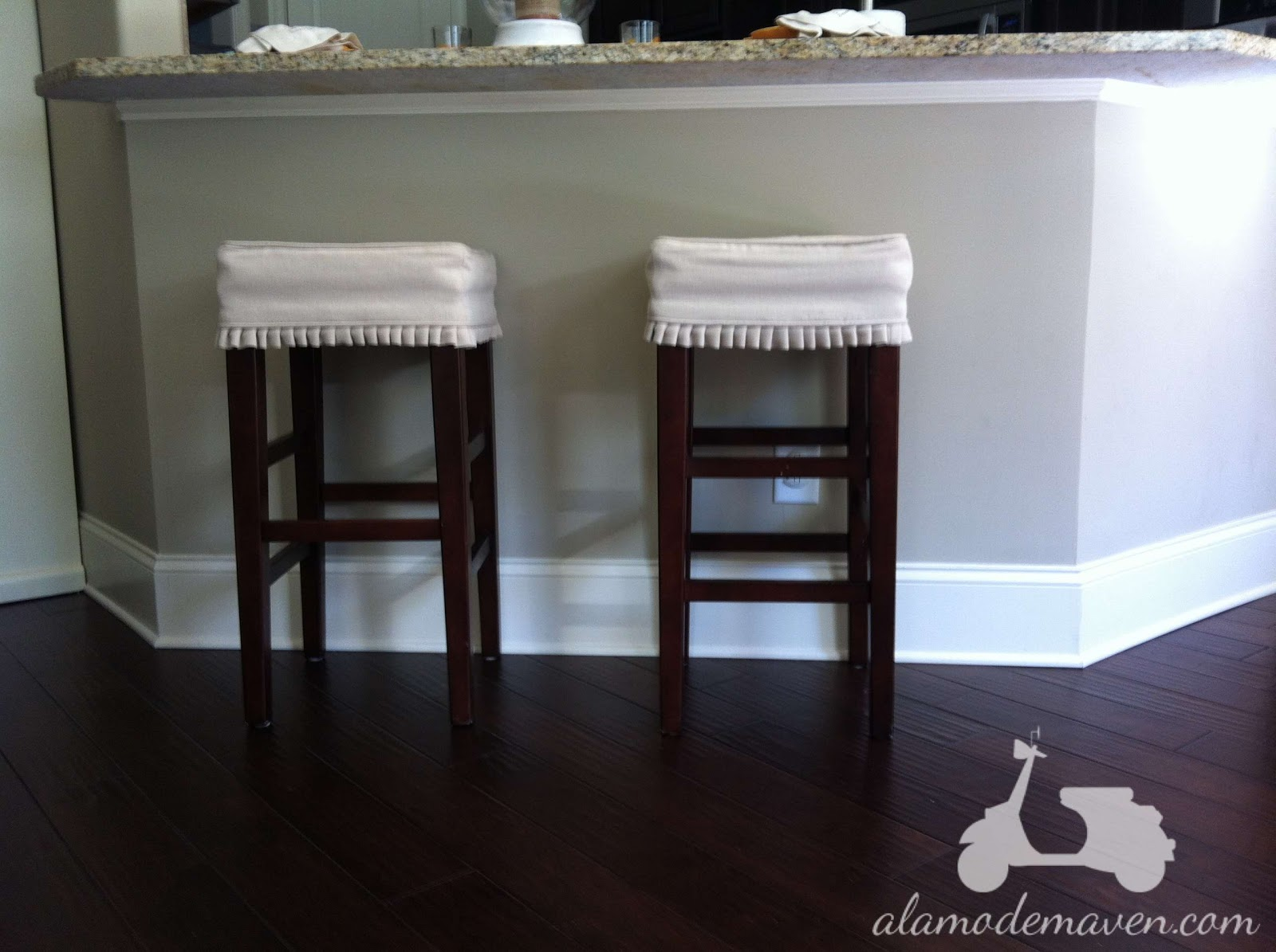 Aren t they a pretty way to dress up a  50 barstool from Home Depot  I  think they look AWESOME  Great job Hol. alamode  Knife Pleated Bar Stool Slipcovers