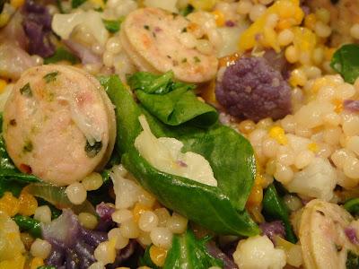 Tri-color cauliflower and Israeli couscous