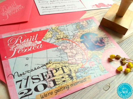 Invitación de boda mapa personalizada