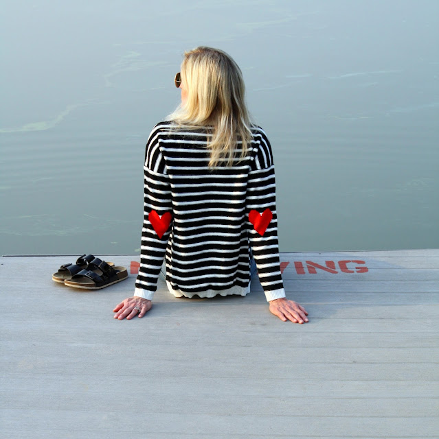 SheIn striped sweater with heart patches
