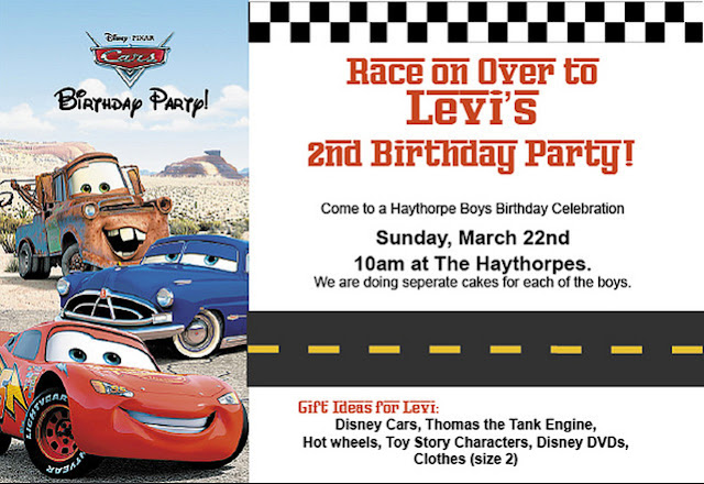 Disney pixars cars do it yourself parties for the invitation i just took some pictures off the internet and added a road and some checkered borders i found some fonts that looked race car ish and solutioingenieria Images