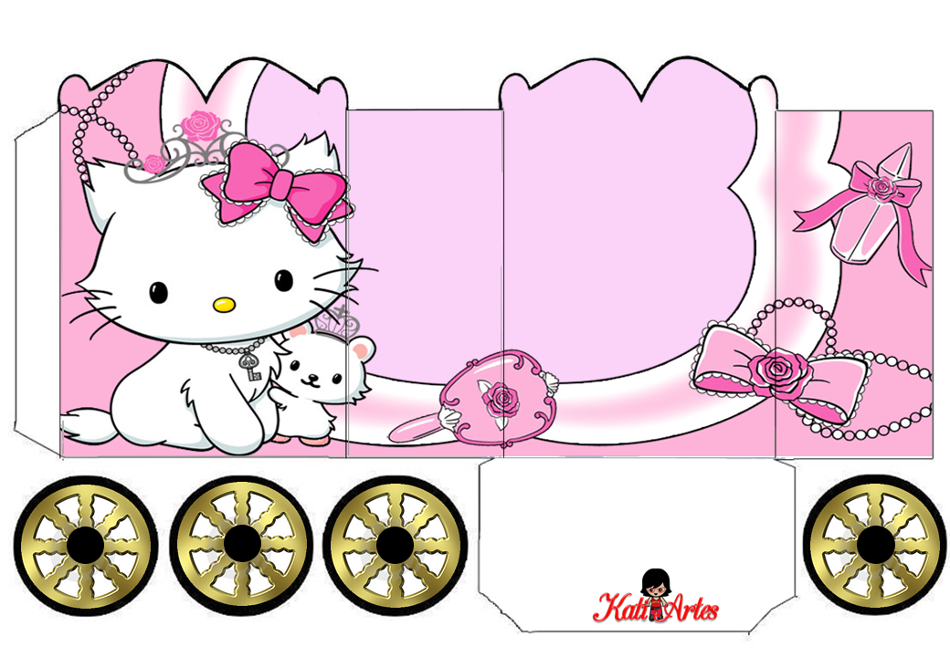 Hello kitty princess carriage shaped free printable box oh my