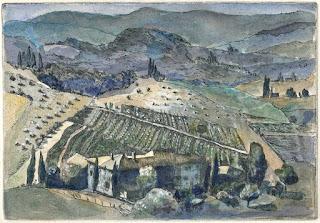 Ekkhard Bartsch: Panzano, Radierung coloriert, 2002