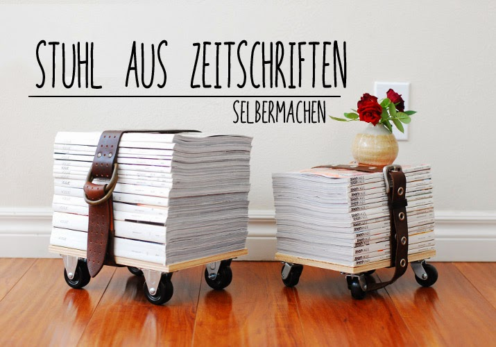 la reines blog upcycling hocker aus zeitschriften selber. Black Bedroom Furniture Sets. Home Design Ideas