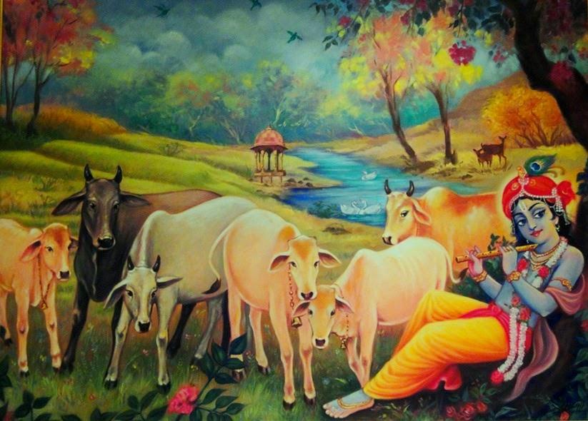 Krishna - Yamuna Teer Vanchaari Cows