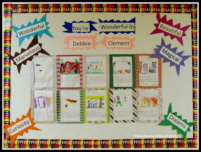 photo of: Author Study Bulletin Board for &quot;You're Wonderful&quot; by Debbie Clement