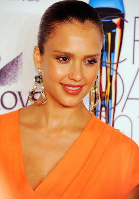 Jessica Alba Gold Decorative Earrings