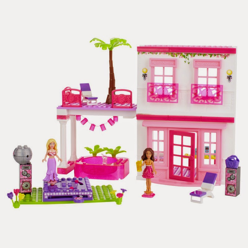 JUGUETES - MEGA BLOKS Barbie  80226 Casa de la Playa | Beach House  Producto Oficial | Piezas: 129 | Edad: +4 años