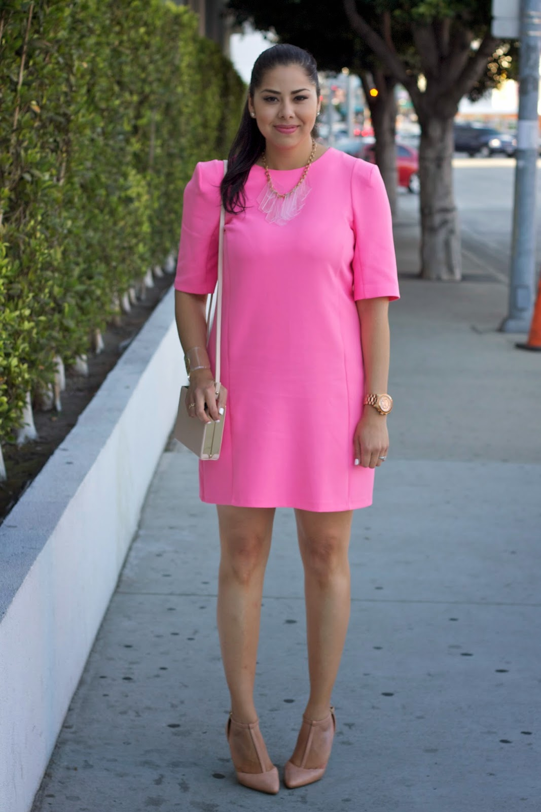 ASOS hot pink sheath dress