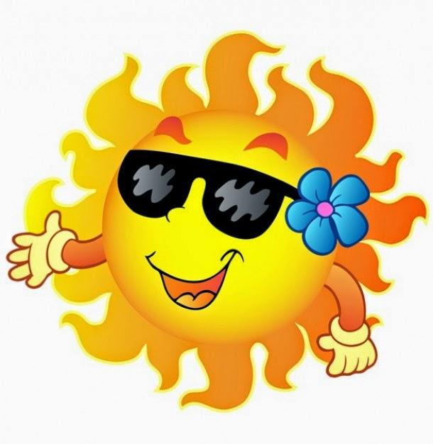 plaatje van vrolijke zon met zonnebril en bloem