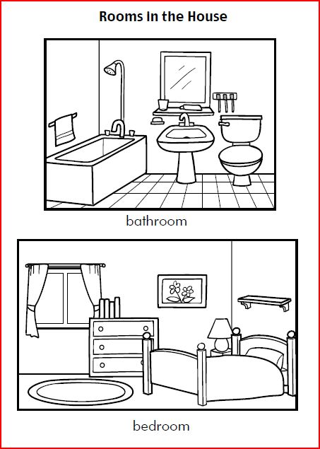 Fichas de ingl s para ni os rooms in the house for Bedroom y sus partes en ingles