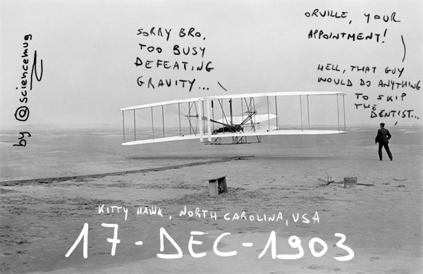 First flight of the Flyer piloted by Orville Wright, 1903 (by @sciencemug)