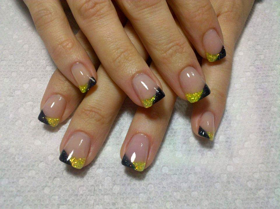 Acrylic french hard gels and glitz