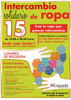 INTERCAMBIO SOLIDARIO DE ROPA . ESTE MIRCOLES DA 15 DE 18:00 A 20:00 HORAS