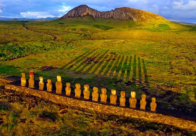 Tongariki, Easter Island seen from a Kite at sunrise.