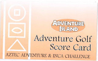 Minigolf scorecard from Adventure Island Adventure Golf in Southend-on-Sea
