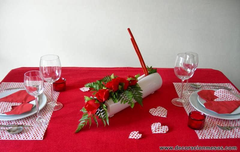 decoracion de mesa para dia de San Valentin