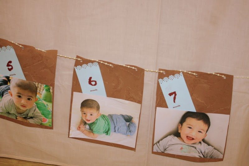 DIY party garland with monthly pictures