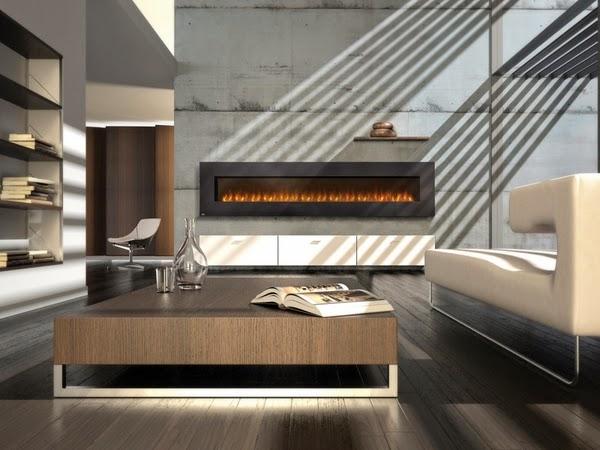 La vie contemporaine salle dans un style minimaliste avec magnifique cheminée