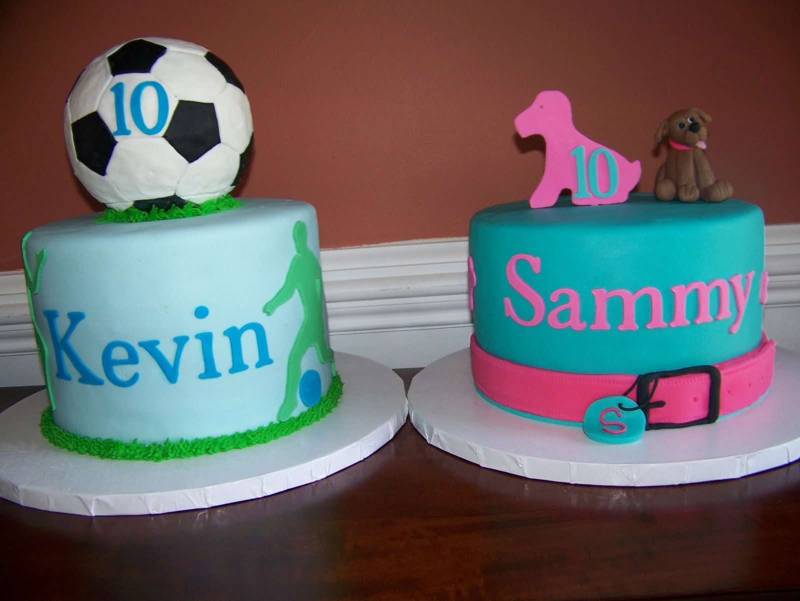 The Red Headed Baker Twins 10th Birthday Cakes Puppy And Soccer Cakes