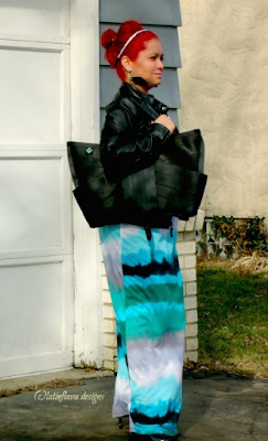 maggie butterfly bag worn with leather jacket and maxi dress over shoulder