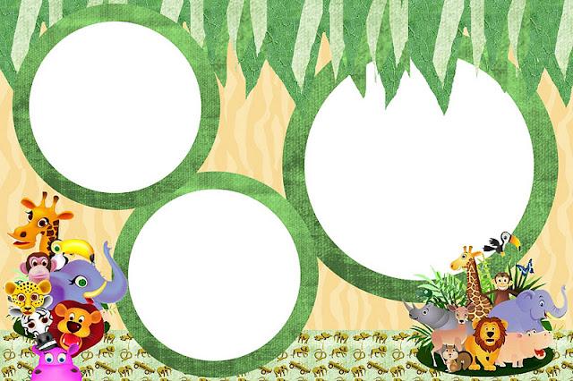 Safari Animais  Kit Completo   Molduras Para Convites  R  Tulos Para