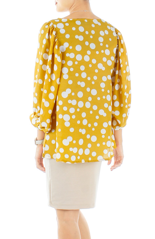 Yellow Stellar Bubble Print Blouse with Dolman Sleeves