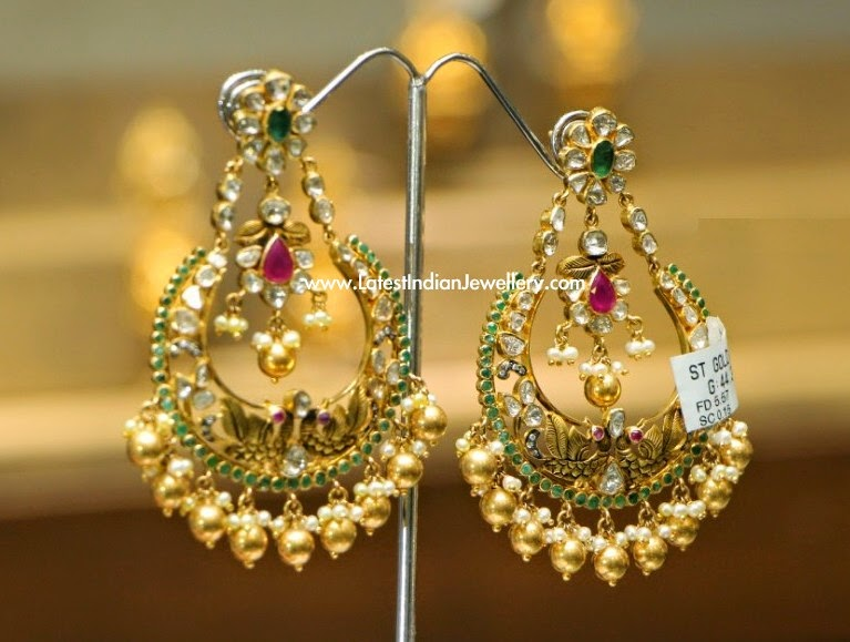 Latest Polki Diamond Gold Earrings
