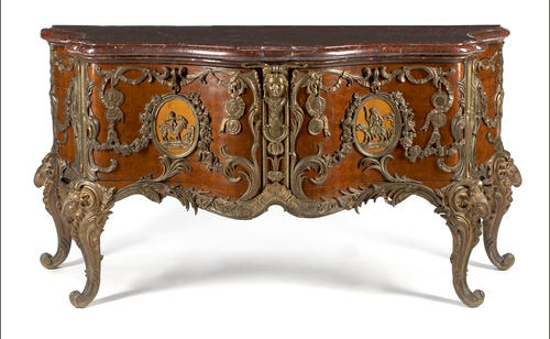 A Louis XV style gilt bronze mounted parquetry inlaid walnut commode  after a model by Antoine Robert Gaudreau