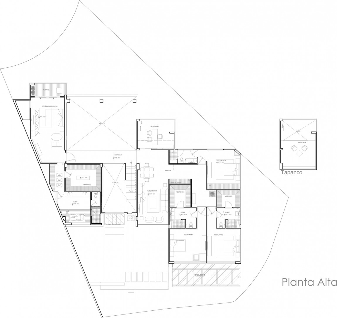 World of Architecture  Compromising Modern Home In Mexico   Casa    First floor plan of the modern home