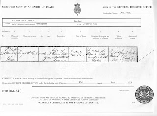 Death certificate for Elizabeth Nye Kite