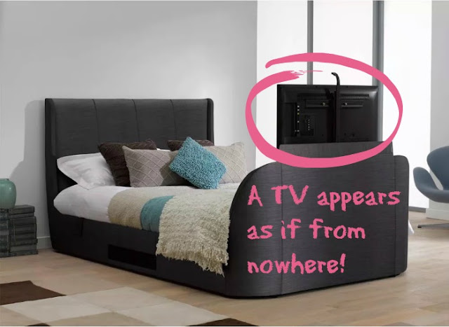 My New Bed Wishlist | Morgan's Milieu: A TV pops up as if from nowhere - magic!