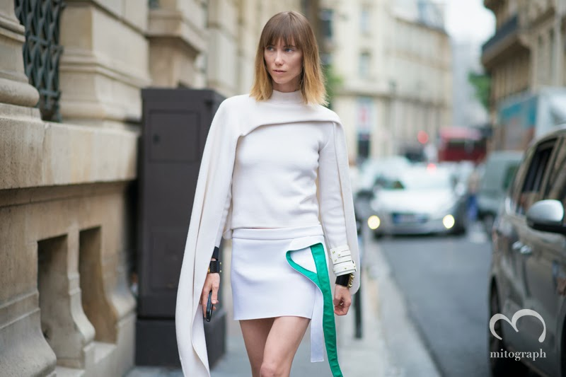 Anya Ziourova wears JWAnderson at Paris Fashion Week 2014 Spring Summer Season