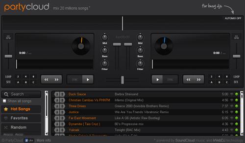 Partycloud, una completa consola de DJ online y gratis