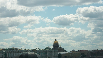 A view if St. Isaac's Cathedral from the top of the wall of the fortress.