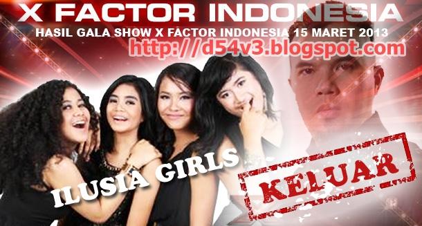 HASIL GALA SHOW EMPAT X FACTOR INDONESIA 15 MARET 2013