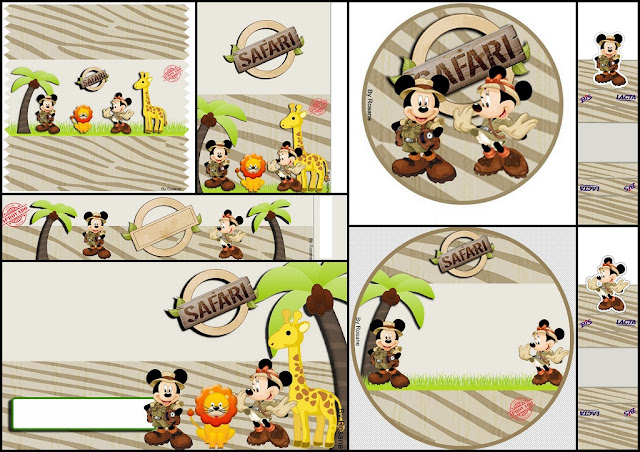 Mickey and Minnie Safari: Free Printable Candy Bar Labels.