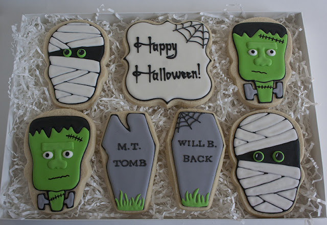 Frankenstein and Mummy cookies
