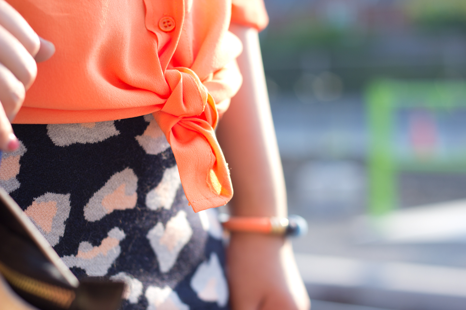 joe-fresh-bright-orange-blouse, summer-look, printed-leopard-skirt