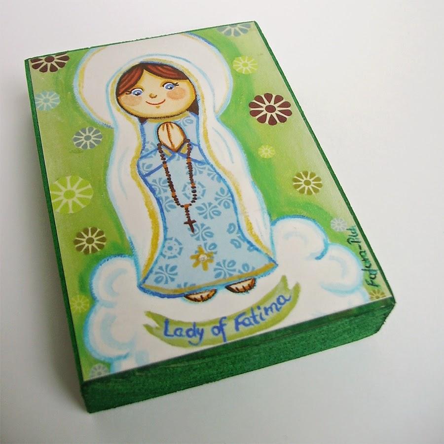 Drewniany obrazek obraz ilustracja święty święta patron święci błogosławiona błogosławiony dla dziewczynki chłopca chłopczyka dziecka prezent upominek na gwiazdkę ozdoba dekoracja bożonarodzeniowa świąteczna Jezus Chrystus Matka Boska Fatimska różaniec Maryja dziecko pamiątka chrztu chrzest pierwsza bierzmowanie komunia narodziny urodziny
