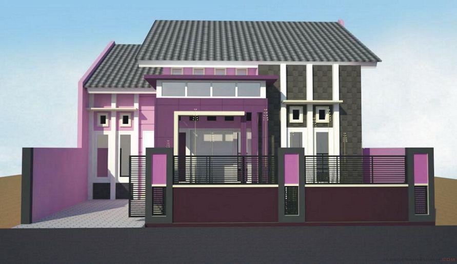 desain cat rumah warna ungu tampak indah