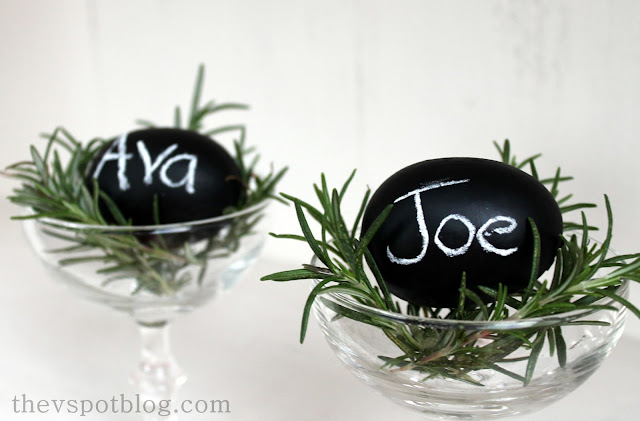 "Easy DIY chalkboard eggs... perfect ""place cards"" for Easter Brunch."