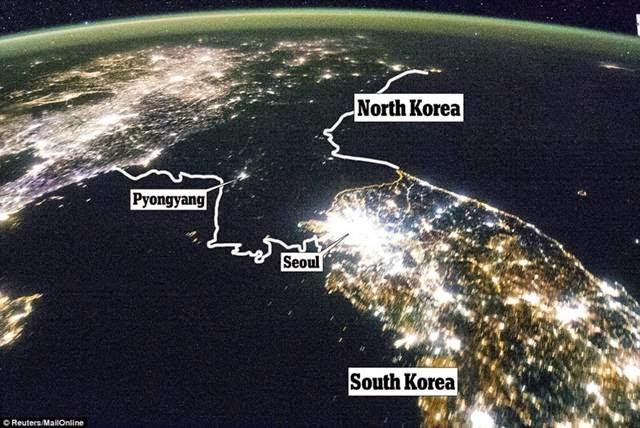 At night, North Korea is pitch black.