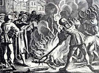 Burning the papal bull, The sale of indulgences sanctioned by Pope Leo X launched Luther on his reforming crusade. When the Pope issued a bull of excommunication in 1520, Luther responded defiantly by publicly burning it in Wittenberg, along with books on canon law.