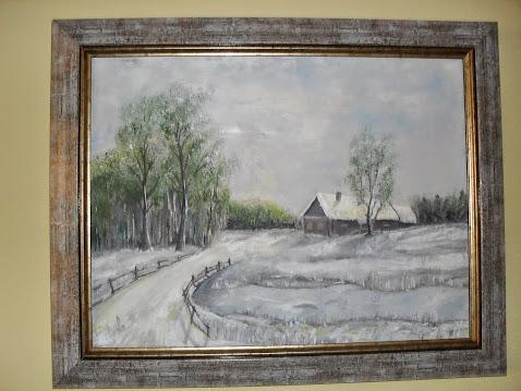 umetnička slika Brvno-likovni umetnik Vladisav Bogićević ,slikar udruženja Luna Niš, ulje na platnu