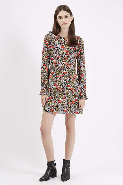 woodland print dress, topshop floral dress, long sleeve floral dress,